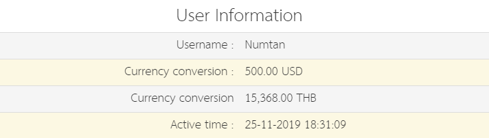 result table (username, currency conversion and result)
